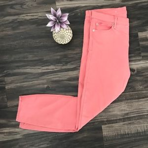GAP pink/light coral cropped jeans
